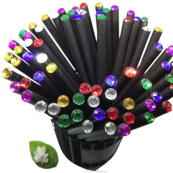 12Pcs/lot Pencil Hb Diamond Color Pencil Stationery Items Drawing Supplies Cute Pencils For School Basswood Office School Cute