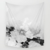 Black And White Blossoms Wall Tapestry by ARTbyJWP