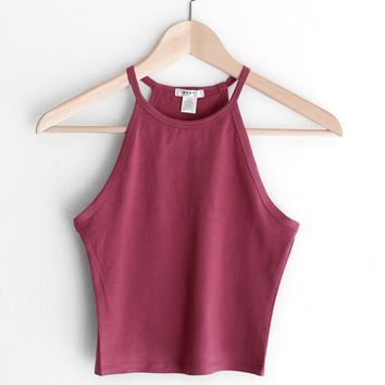 Sleeveless Crop Top - Mauve