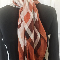 Vintage Scarf, Perfect For Fall, Vintage Accessory, Rust, White, Black, Versatile