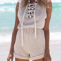 Sleeveless Lace-up Front Romper