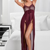 Burgundy Lace Detail Gown And Panty from VENUS