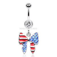 American Patriot Bow-Tie Flag Belly Button Ring (Clear)