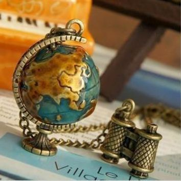 For Women Personality Vintage Miniature Telescope Global Travel Globe Necklace