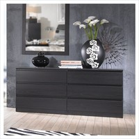 Scottsdale 6 Drawer Double Dresser in Black Woodgrain - 7029661