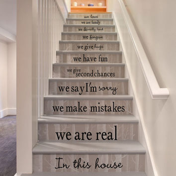 Stairs house rules stickers removable waterproof PVC  Art