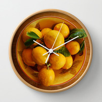 Yellow lemons wall clock, cottage kitchen food art , still life lemon in bowl, foodie home decor in warm tones, Fruit print decorative clock