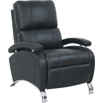 Oracle II Recliner Stargo Black Leather Polished Chrome Legs