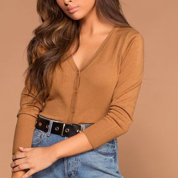 Roxanne V-Neck Button-Up Camel Sweater Cardigan Top