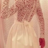 White Sheer Lace Long Sleeve Bow Back Skater Circle A Line Flare Pleat Mini Dress