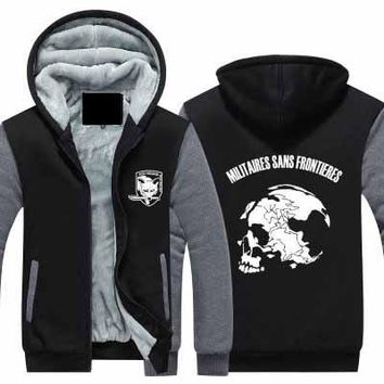 New Winter Jackets Coats Metal Gear Solid hoodie Game Hooded Thick Zipper Men cardigan Sweatshirts