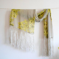 Fringed Scarf , beige yellow white,long wrap scarf, limited edition, chiffon fabric, floral print, Timeless, scarves, full seasons outfit