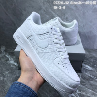 HCXX N970 Nike Air Force 1 af1 Crocodile grain low-band sport sneakers White