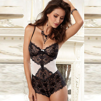 On Sale Cute Hot Deal Lace Patchwork Sexy One-piece Summer Spaghetti Strap Sleepwear Dress Exotic Lingerie [6596539139]