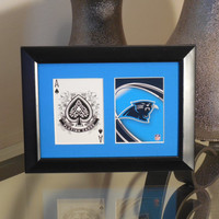 Carolina Panthers 5x7 Blackjack? Spades Authentic Playing Card Display Matted FRAMED NF2604