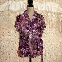 Purple Abstract Print Wrap Blouse Sheer Boho Blouse Ruffled Dressy Short Sleeve Summer Top Size 18 Size 20 1X 2X Women Plus Size Clothing