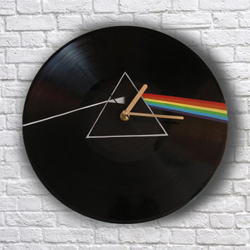 The Dark Side of the Moon painted retro vinyl clock Pink Floyd, gift for music lover