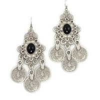 Black Onyx Silver Gypsy Traveler Earrings - Default
