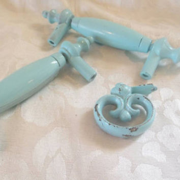 Shabby Chic Dresser Knobs Pulls Baby Blue