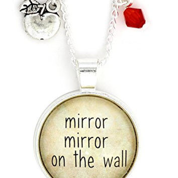 Mirror Mirror On The Wall Necklace Silver Tone NW50 Fairytale Snow White Poison Apple Charm Pendant