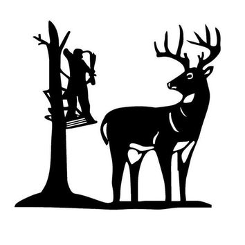 Hunters Hunting Deer Cartoon Light Switch Wall Decal