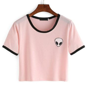 12 Styles Alien Embroidery T shirt Hipster Cotton Tshirts Crop Top Tee  Harajuku Style Cute Stripe Short Sleeve