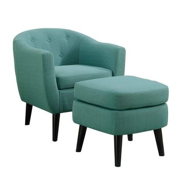 Mid Century Tufted Upholstered Barrel Lounge Accent Chair with Ottoman