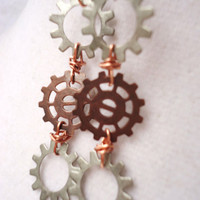 Steampunk Gear Earrings, Wire Wrapped Copper & Silver Gears