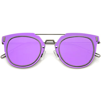 FIYAH WIRE FLAT FRAME MIRROR SUNGLASSES - PURPLE