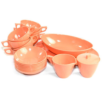 Melmac Peach / Coral Dish Set (20 Pieces) - Teacups, Bowls, Platter, Creamer & Sugar - Retro Instant Collection - Vintage Home Kitchen