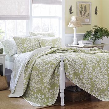 Twin size 100% Cotton 2-Piece Quilt Set with Coverlet and Sham in Floral Sage Green White