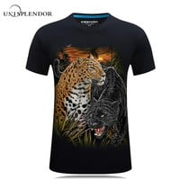 2017 New Design Cool Summer Men T shirt Leopard Eagle Wolf 3D Printed Hip Hop Tee Cotton Male Tshirt Casual Plus Size Tops YN598
