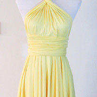 Summer day dress Convertible Dress in pastel yellow infinity Dress Multiway Dress Cream canary yellow sunflower light Wrap dress