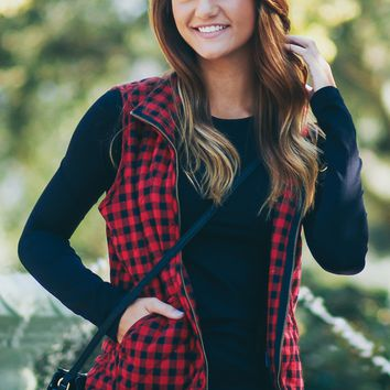 Plaid Zip-Up Vest Red/Black