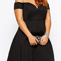 Black Off-The-Shoulder A-Line Plus Size Dress