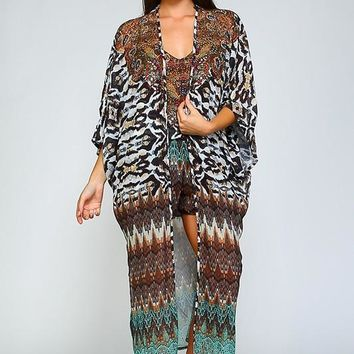 Crystal Embellished Maxi Cardigan