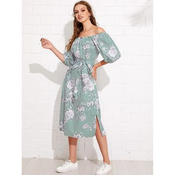 Multicolor Off Shoulder Half Sleeve Floral Print Striped Shift Dress