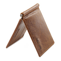 GUBINTU Brand Vintage mini Men's genuine leather money clip wallet with clamp Small purse with 6 card slots for man