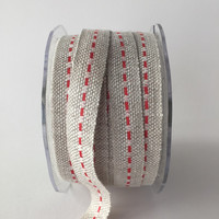 "Burlap Ribbon with Colorful Center Stitch in Red 5 Yards 5/8"" Wide Jute Ribbon"