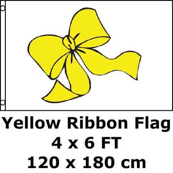 Yellow Ribbon Flag 4` x 6` FT 100D Polyester Large American United States USA US Military Army Flags and Banners