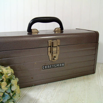 Large Heavy Duty Hammered Metallic Brown Enamel Metal Craftsman Tool Chest - Vintage Craftsman Supply Box - Artisan Tools & Supplies Case