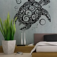 uBer Decals Vinyl Wall Decal Sticker Sea Turtle 282 32x29 inches - Black