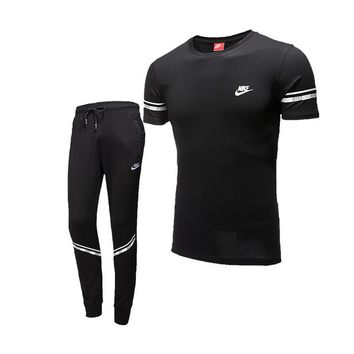 NIKE trend men's sports suit short-sleeved pants suit running fitness clothes two-piece black