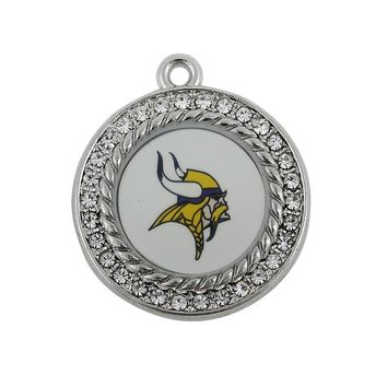 Rhinestone Metal Football Sports Team Minnesota Vikings Charms Pendant For DIY Fashion Bracelet & Necklace Jewelry 10pcs/lot