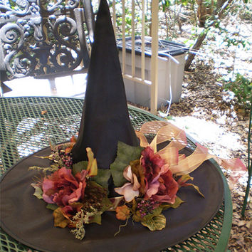 Floral witch hat witches renaissance Victorian women's Halloween costume accessory pagan ritual wear