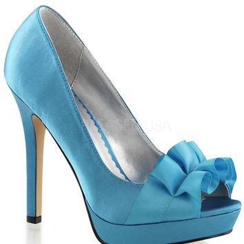 Fabulicious Lumina Blue Satin Peep Toe Pumps