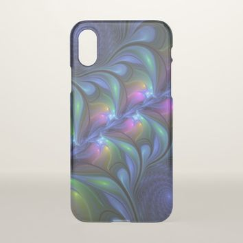 Colorful Luminous Abstract Blue Pink Green Fractal iPhone X Case