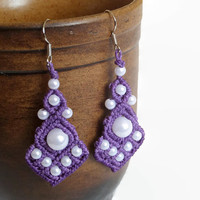 Purple chandelier earrings with white beads, handmade macrame earrings, boho dangle earrings with acrylic beads, romantic drop earrings,