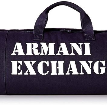 Armani Exchange Men's Large Printed Logo Canvas Duffle Weekender Gym Bag