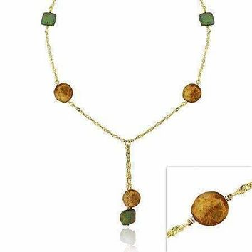 18K Gold over Sterling Silver Green & Champagne Freshwater Cultured Coin Pearl Lariat Necklace